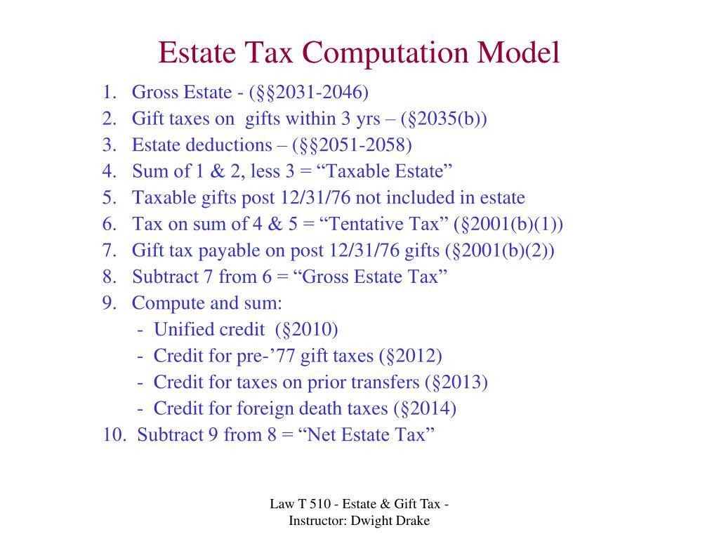 Estate Tax Computation Model
