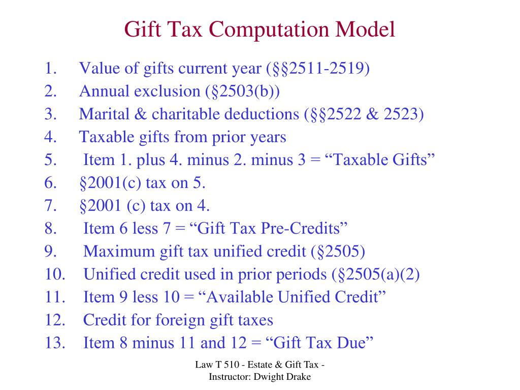 Gift Tax Computation Model