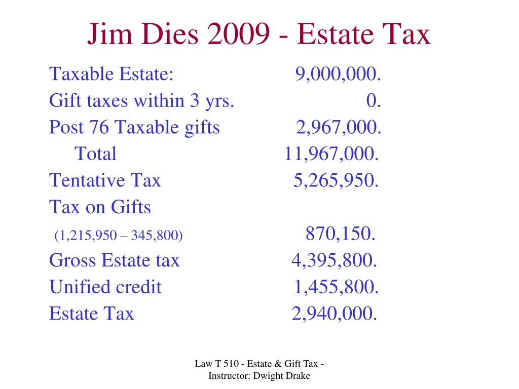 Jim Dies 2009 - Estate Tax