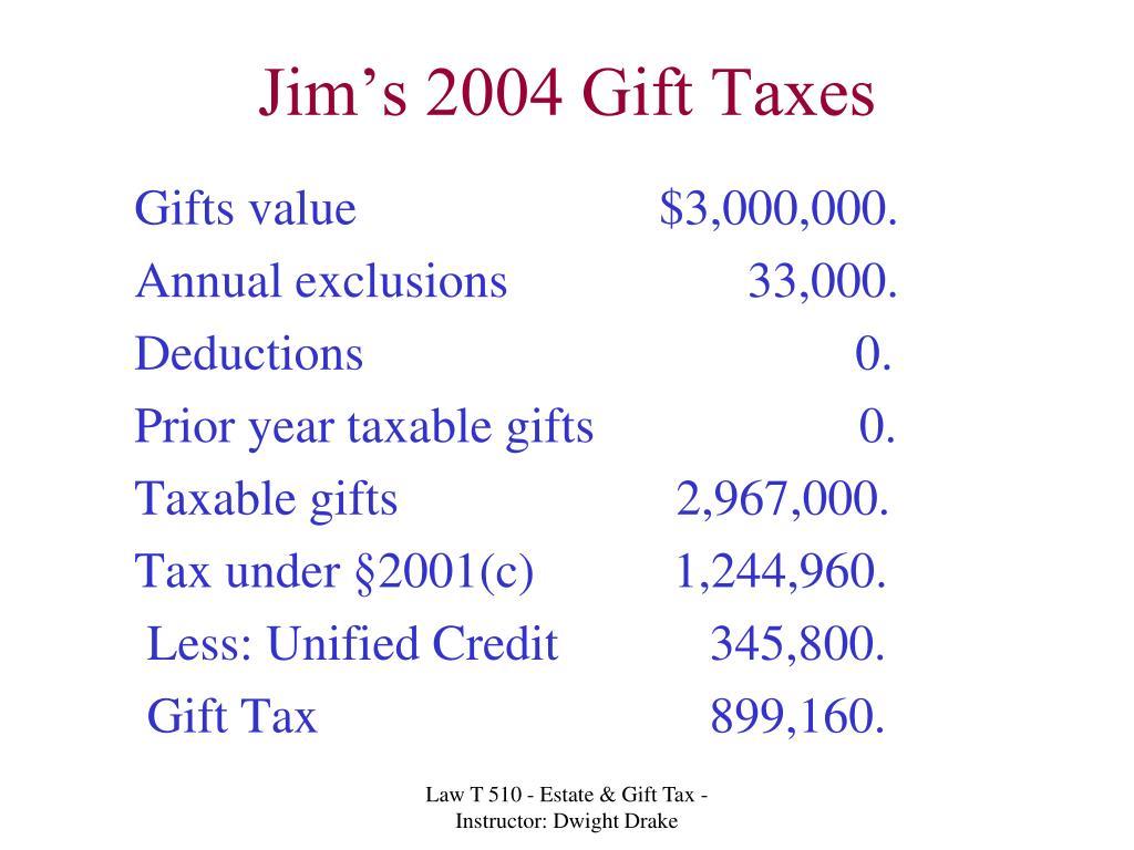 Jim's 2004 Gift Taxes