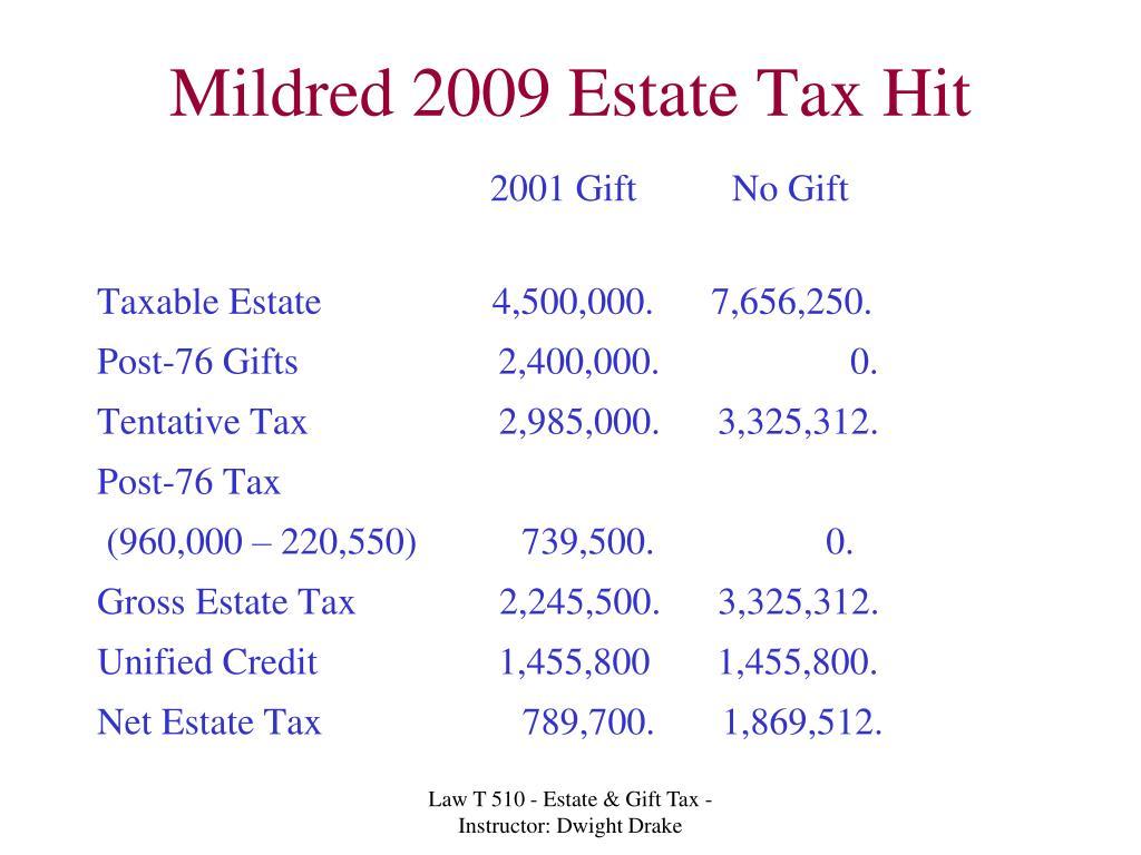 Mildred 2009 Estate Tax Hit