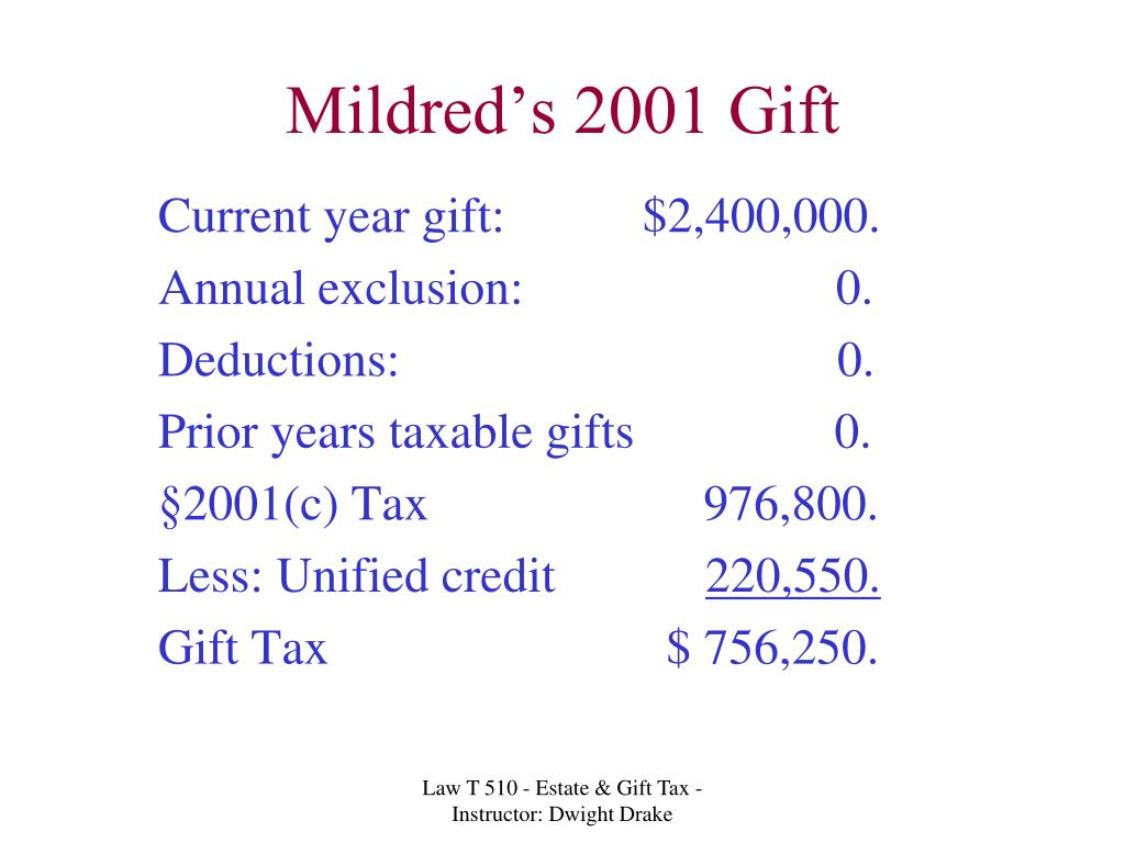 Mildred's 2001 Gift