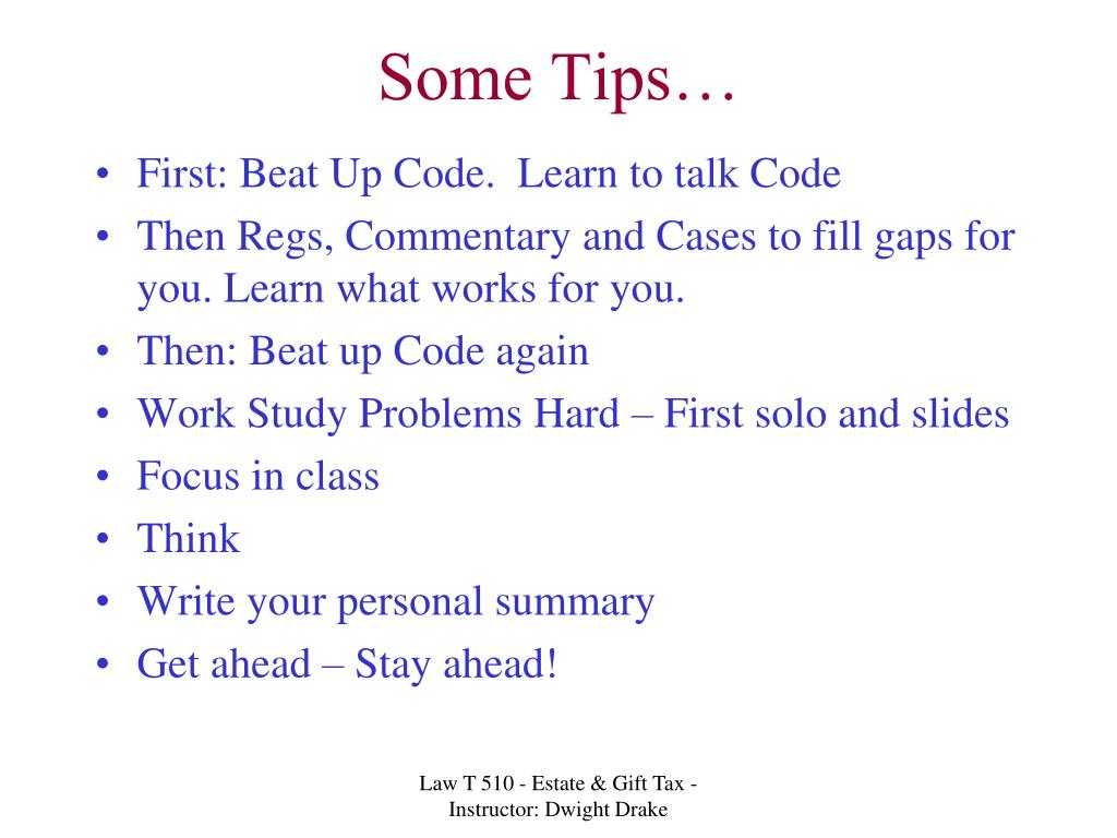Some Tips…