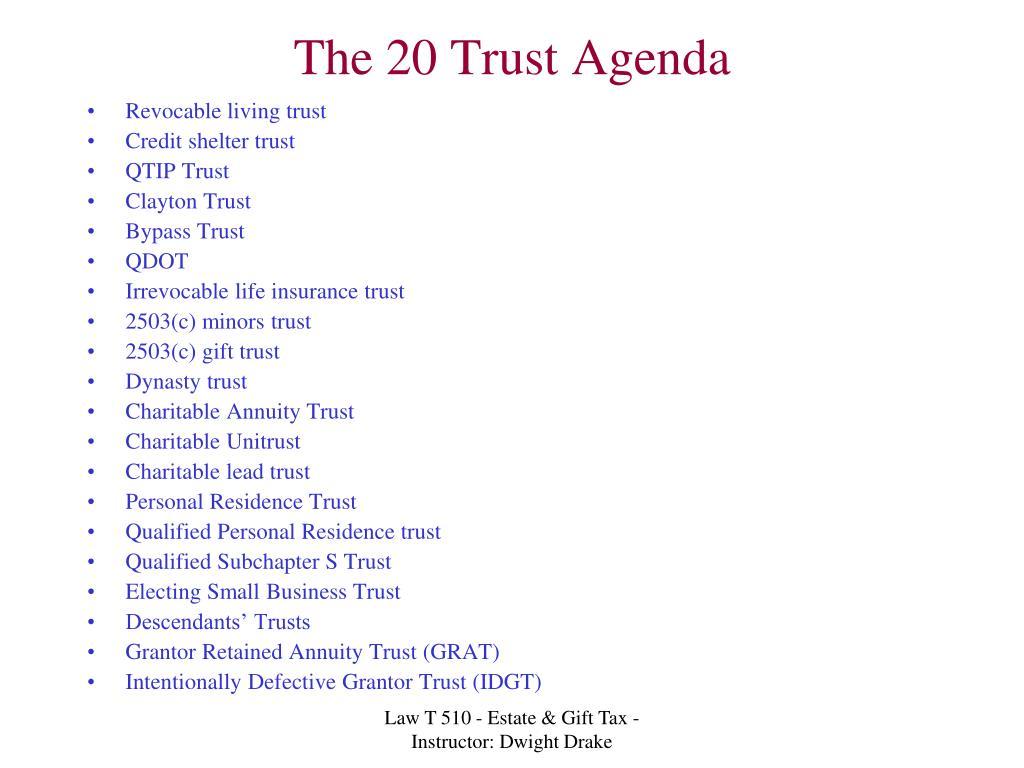 The 20 Trust Agenda
