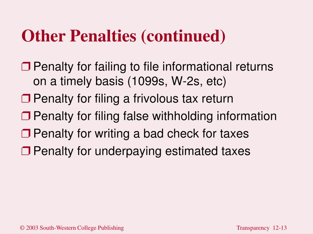 Other Penalties (continued)