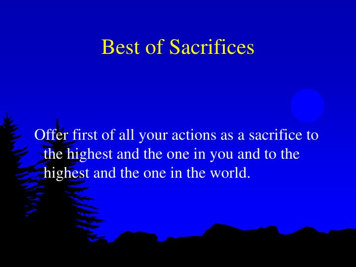 Best of Sacrifices