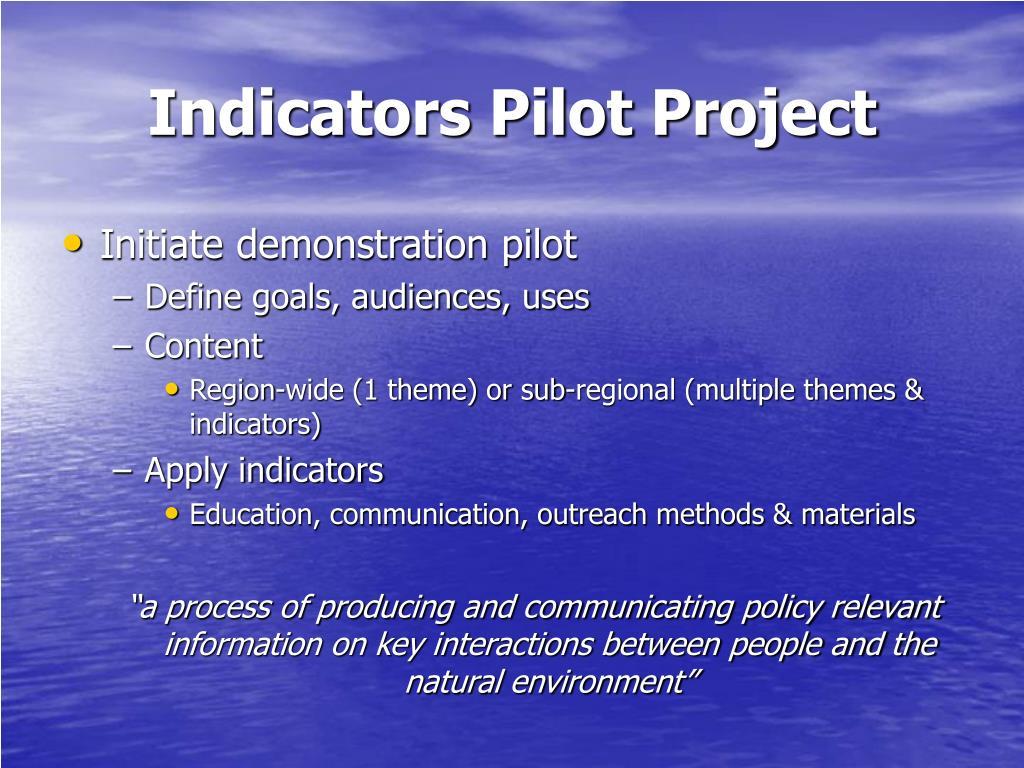 Indicators Pilot Project