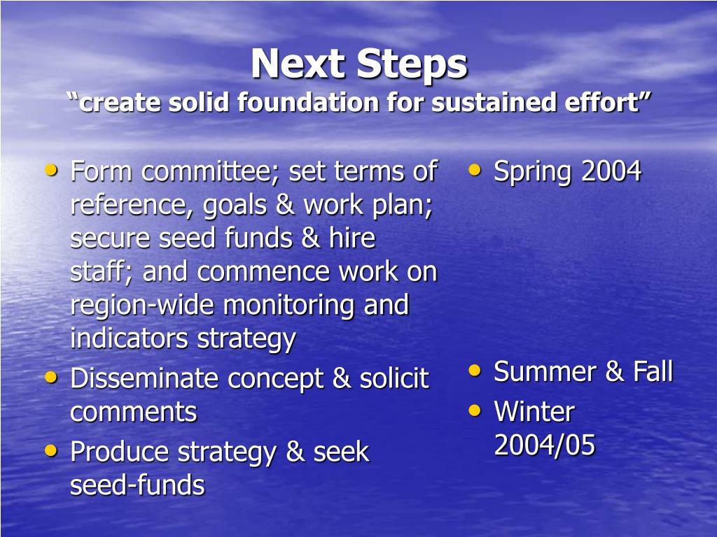 Form committee; set terms of reference, goals & work plan; secure seed funds & hire staff; and commence work on region-wide monitoring and indicators strategy