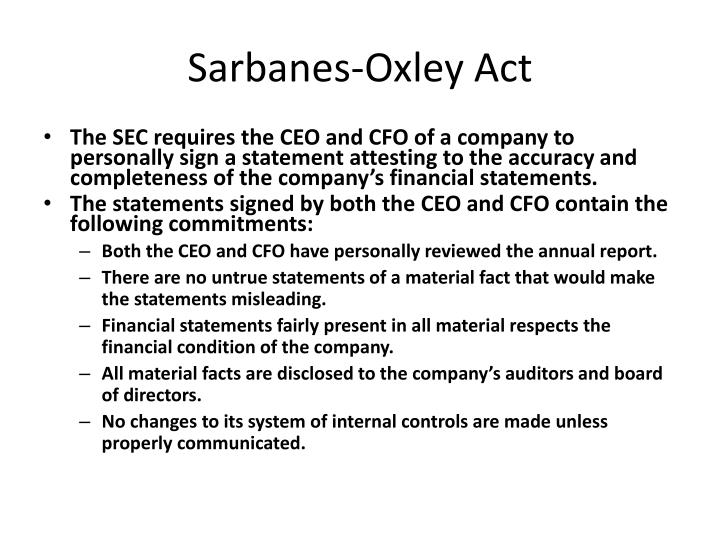summary of sarbanes oxley act of 2002 The united states public company accounting reform and investor protection act of 2002 -- also called the sarbanes-oxley act of 2002 (named after its congressional cosponsors, senator sarbanes and congressman oxley) click to download a one-page summary (pdf 19k) or you can download the full text .