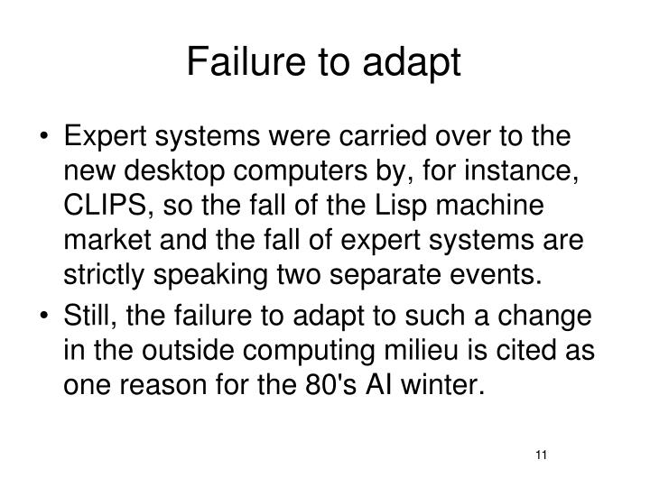 Failure to adapt
