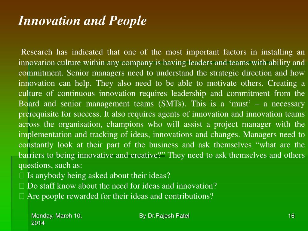 Innovation and People