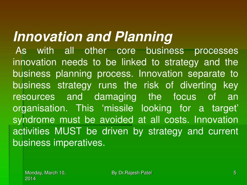 Innovation and Planning