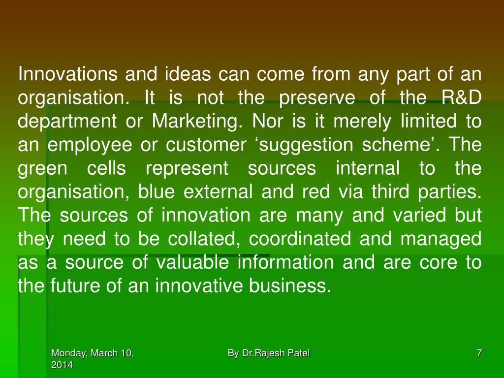 Innovations and ideas can come from any part of an organisation. It is not the preserve of the R&D department or Marketing. Nor is it merely limited to an employee or customer 'suggestion scheme'. The green cells represent sources internal to the organisation, blue external and red via third parties. The sources of innovation are many and varied but they need to be collated, coordinated and managed as a source of valuable information and are core to the future of an innovative business.