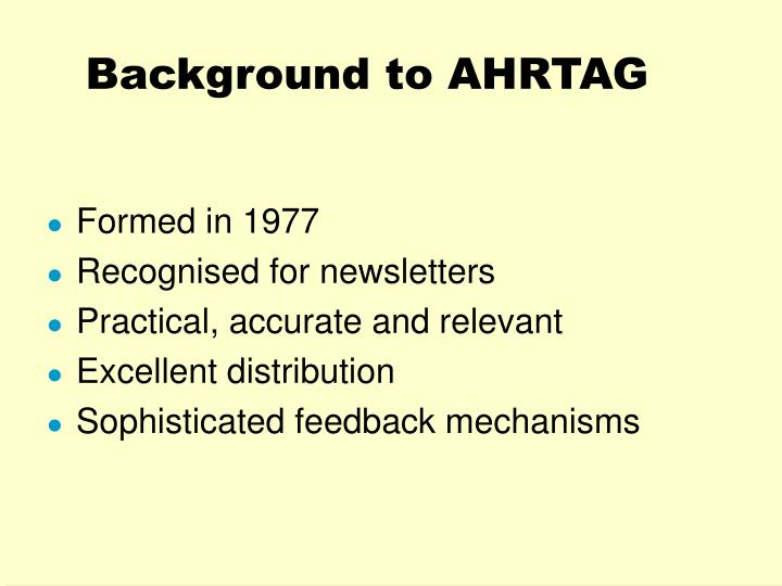 Background to ahrtag