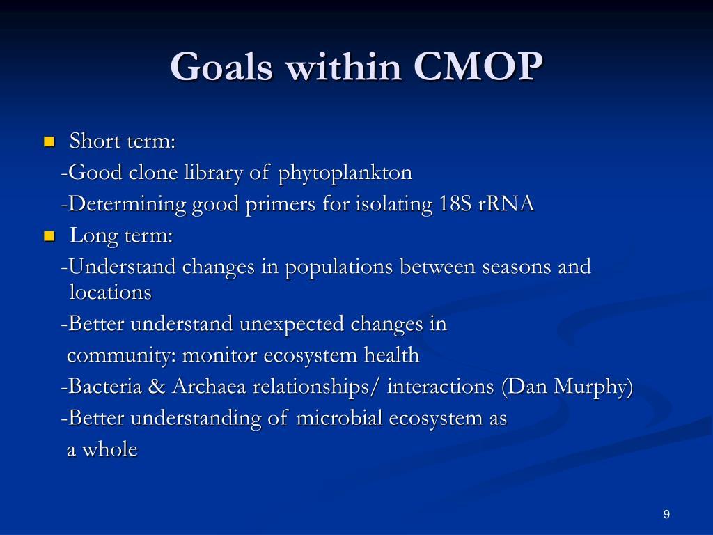 Goals within CMOP