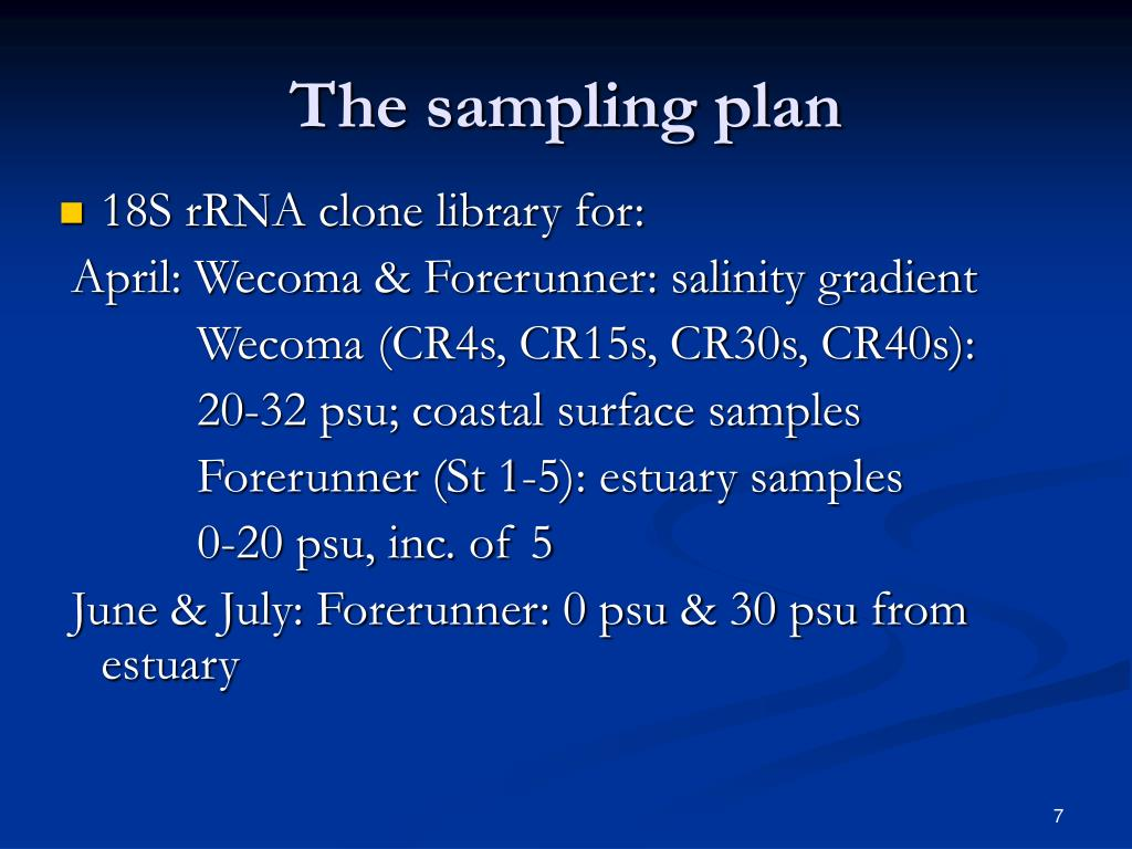 The sampling plan