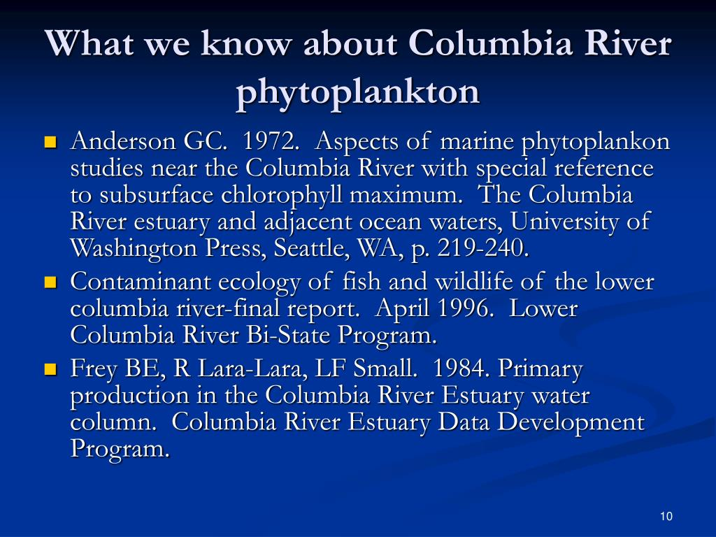 What we know about Columbia River phytoplankton