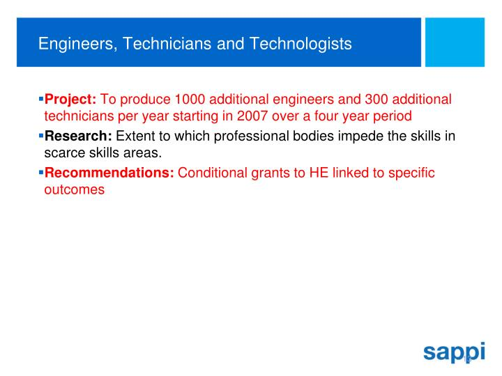 Engineers, Technicians and Technologists