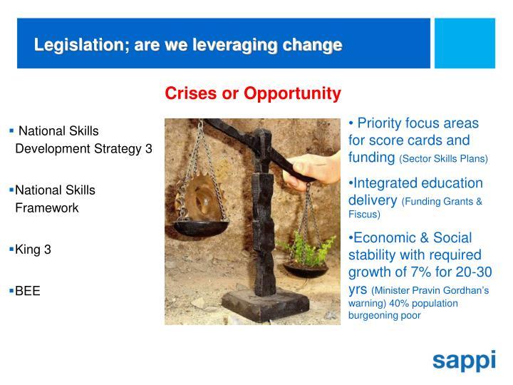 Legislation; are we leveraging change