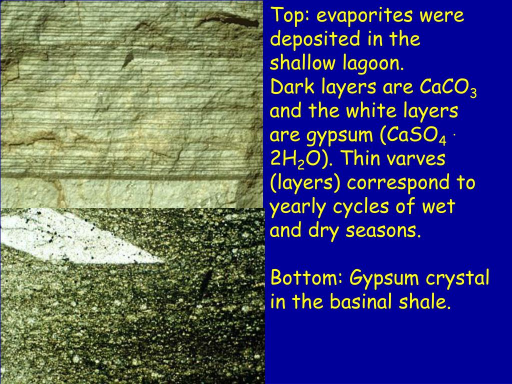 Top: evaporites were deposited in the shallow lagoon.
