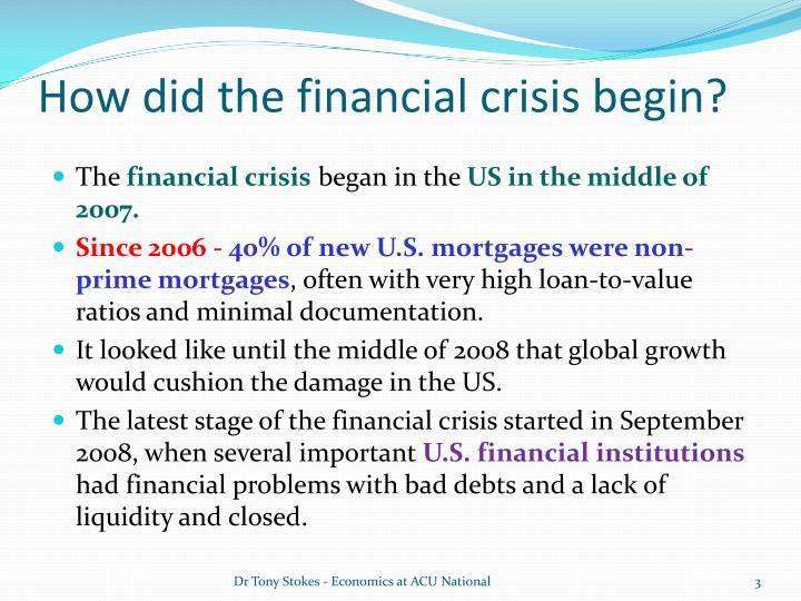 THE IMPACT OF THE GLOBAL FINANCIAL CRISIS ON THE