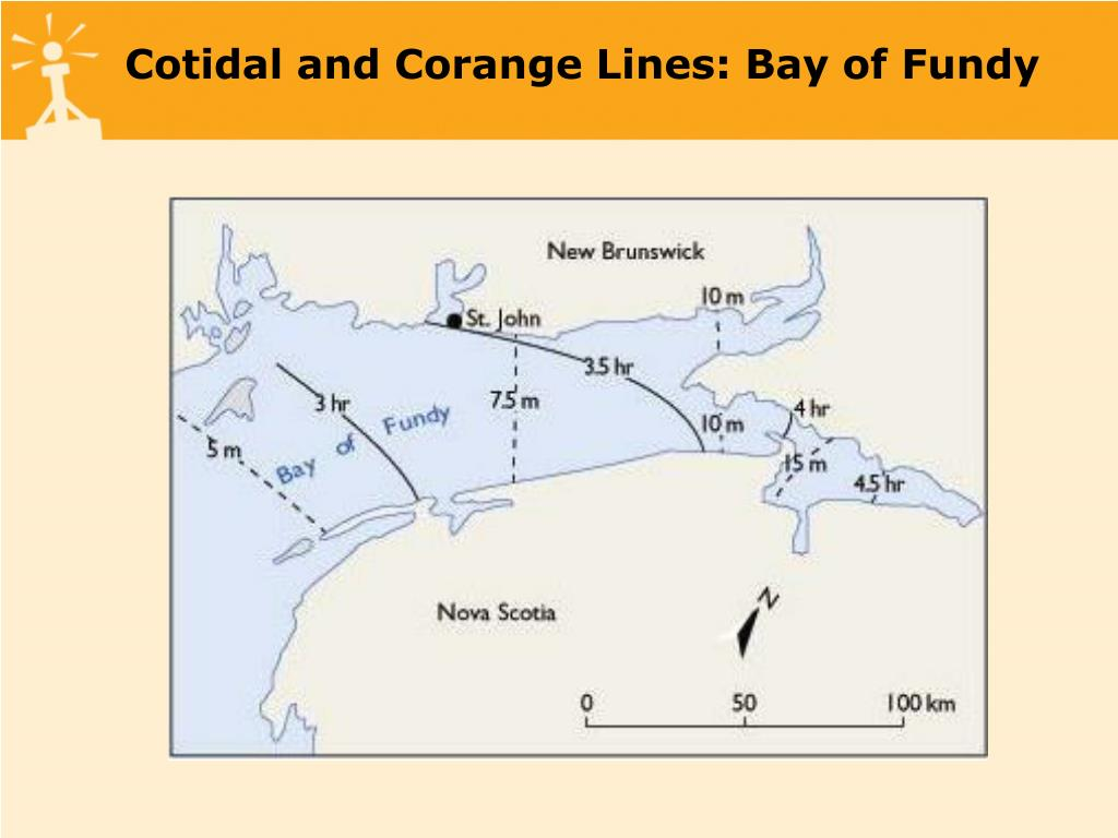Cotidal and Corange Lines: Bay of Fundy