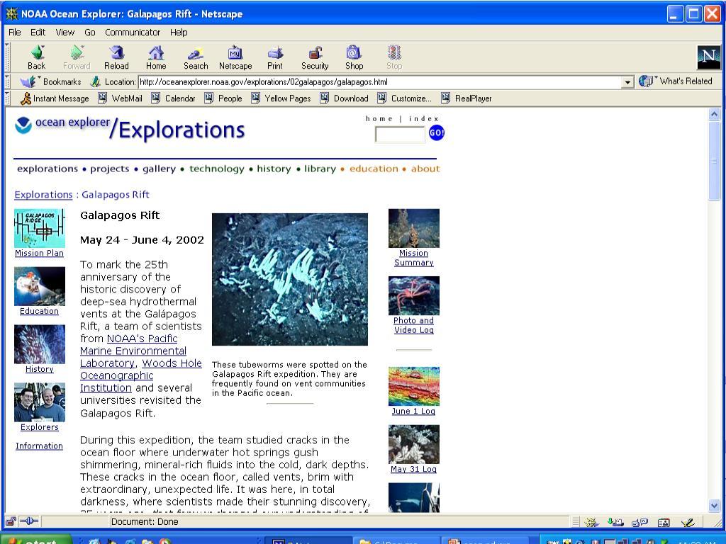 Ocean Explorer Web Site