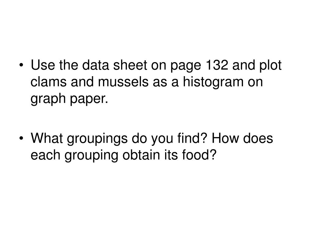 Use the data sheet on page 132 and plot clams and mussels as a histogram on graph paper.