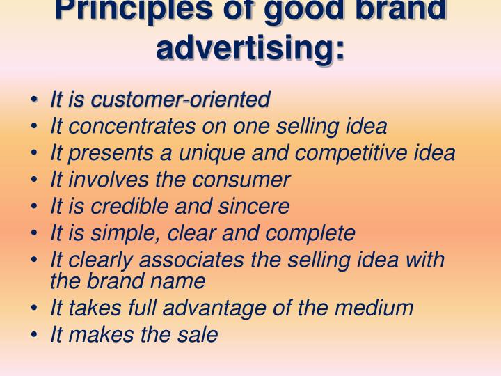 Principles of good brand advertising: