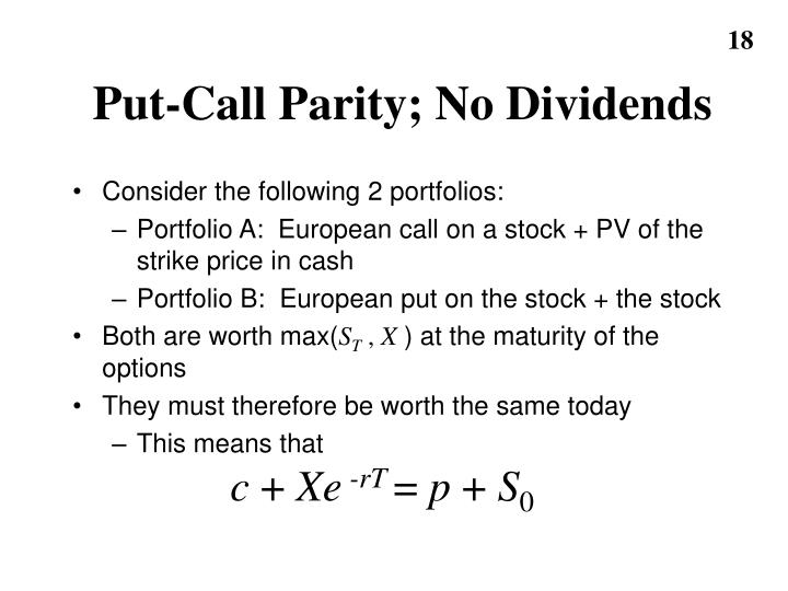 Put-Call Parity; No Dividends