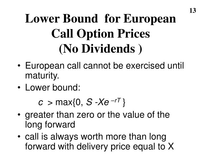 Lower Bound  for European Call Option Prices