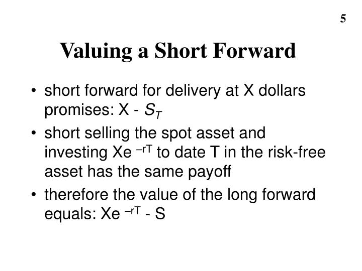 Valuing a Short Forward