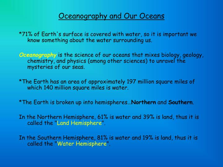Oceanography and Our Oceans
