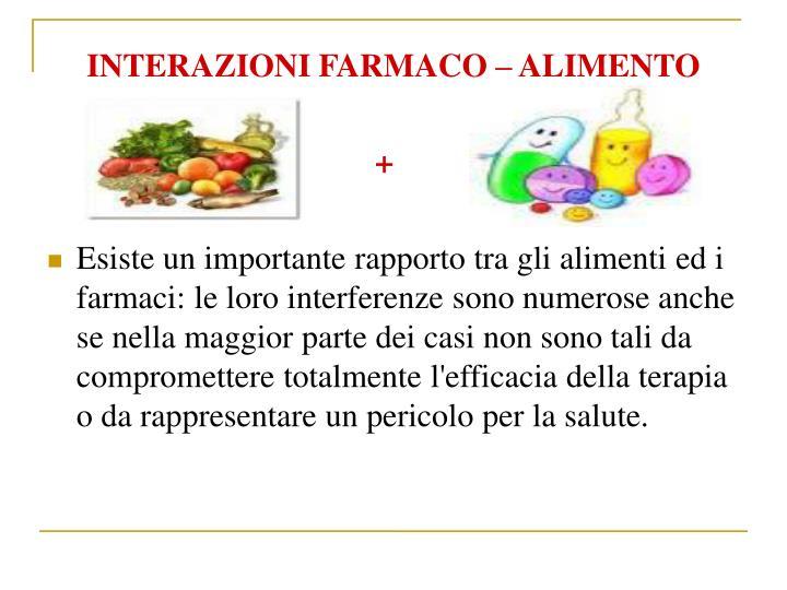 INTERAZIONI FARMACO  ALIMENTO