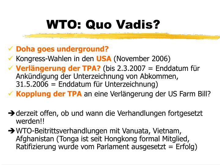 WTO: Quo Vadis?