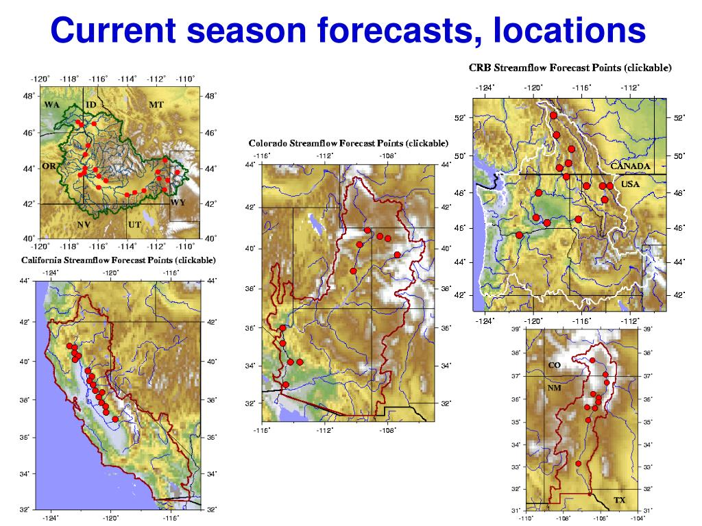 Current season forecasts, locations