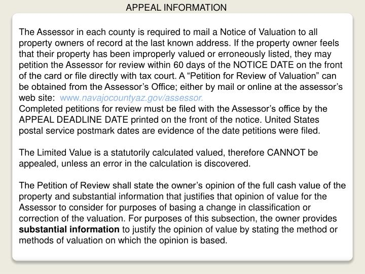 APPEAL INFORMATION