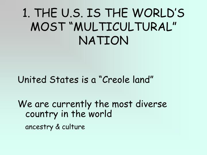 "1. THE U.S. IS THE WORLD'S MOST ""MULTICULTURAL"" NATION"