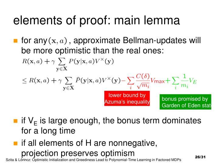 elements of proof: main lemma