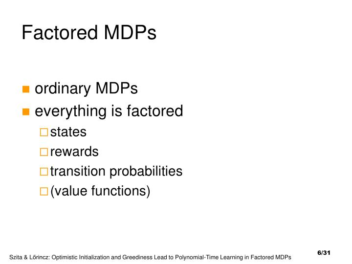 Factored MDPs