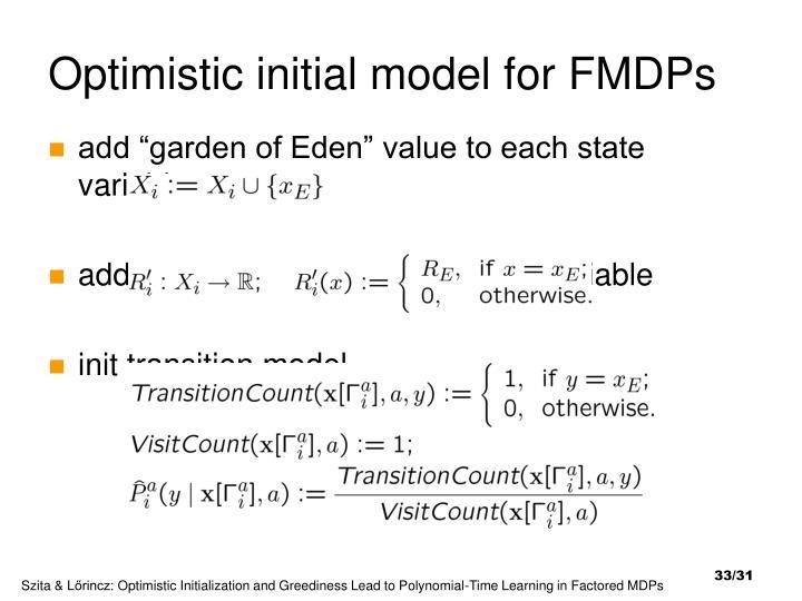 Optimistic initial model for FMDPs
