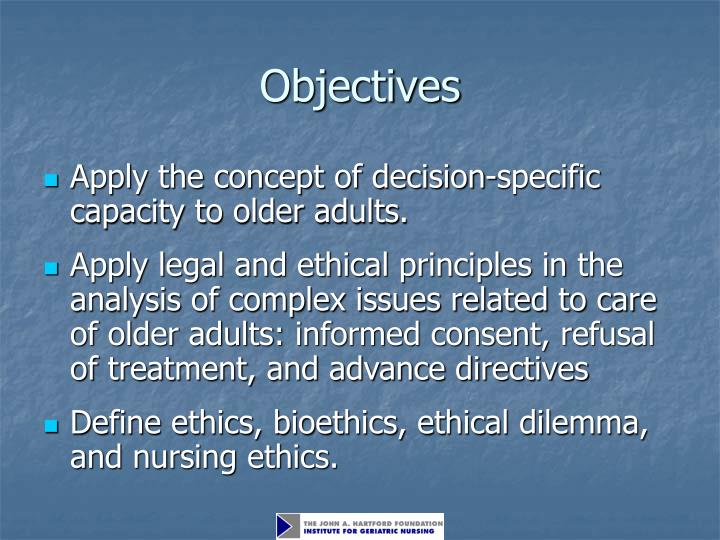 legal and ethical issues in elderly care Legal and ethical issues in scientific research there are laws and rules of ethics in place to address the process of scientific research these laws and guidelines are strictly enforced, particularly when the research studies involve human subjects.