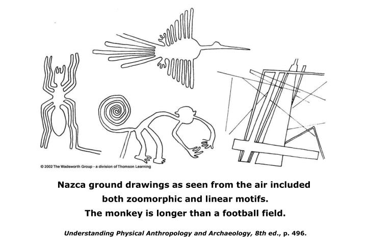Nazca ground drawings as seen from the air included