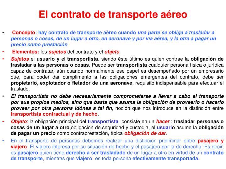 El contrato de transporte aéreo