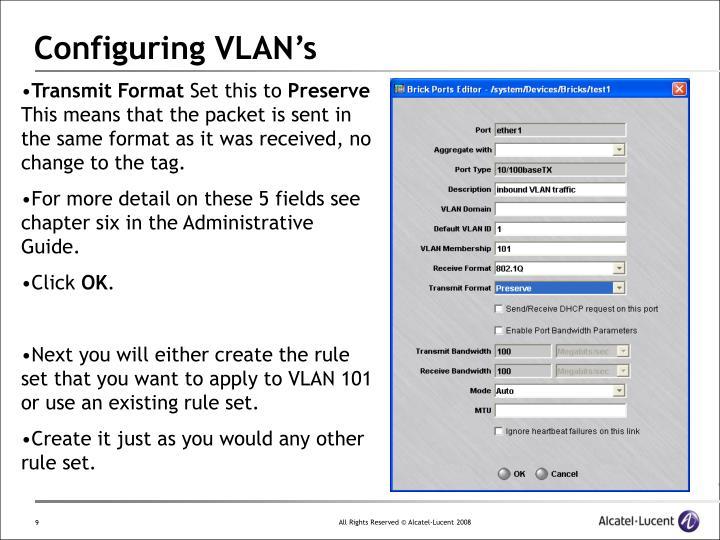 Configuring VLAN's