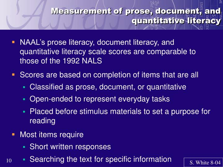 Measurement of prose, document, and quantitative literacy