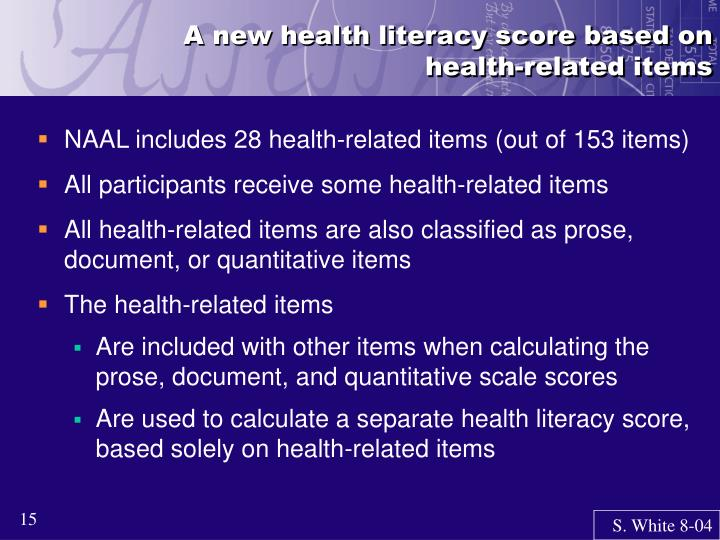 A new health literacy score based on