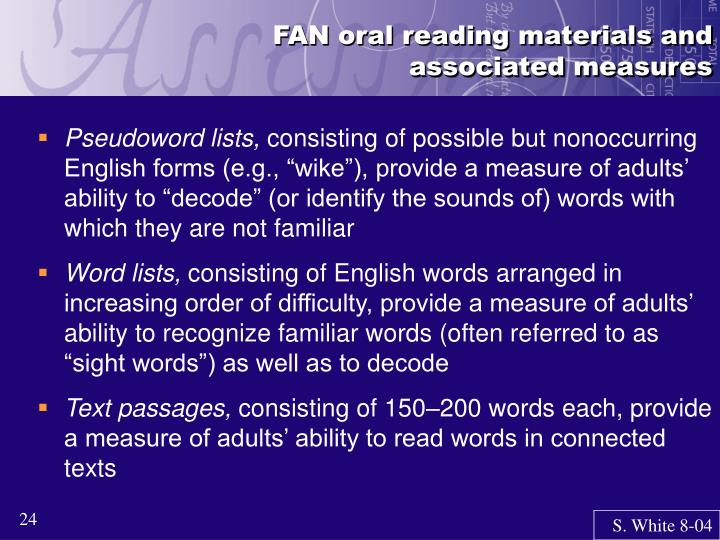 FAN oral reading materials and