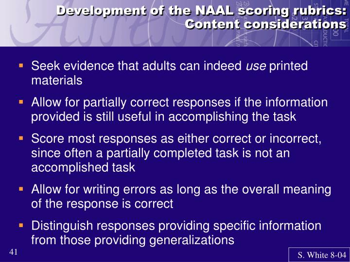 Development of the NAAL scoring rubrics: