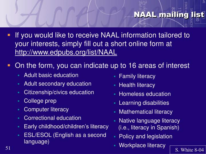 NAAL mailing list